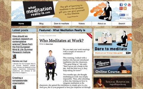 Screenshot of Home Page whatmeditationreallyis.com - Featured - What Meditation Really Is - captured Sept. 23, 2014
