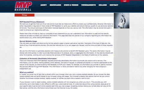 Screenshot of Privacy Page mvpbaseball.net - MVP Baseball-The leader in baseball player training and development - captured Oct. 3, 2014