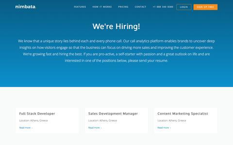 Screenshot of Jobs Page nimbata.com - Careers - Nimbata Call Tracking - captured Aug. 12, 2019