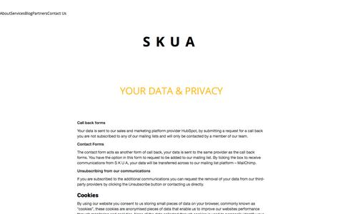 Screenshot of Privacy Page skuamedia.com - Your Data & Privacy - Skua Media - S K U A - Serving Glasgow, the Highlands and the Islands - captured Sept. 20, 2018