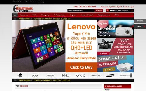 Screenshot of Home Page electronicbazaar.com.au - Buy Cheap Camcorders, Digital Cameras, Mobile Phones, Projectors - ElectronicBazaar - captured Sept. 19, 2014