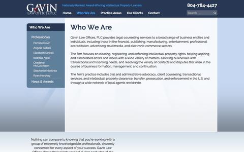 Screenshot of About Page gavinlawoffices.com - Who We Are | Gavin Law Offices, PLC - captured Oct. 2, 2014
