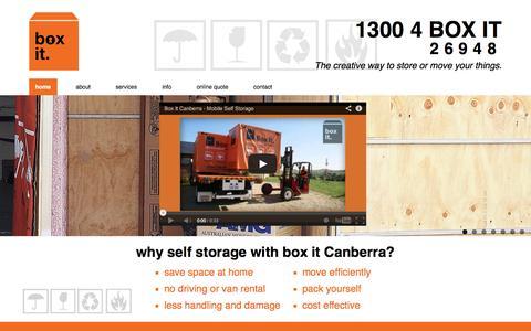Screenshot of Home Page boxitcanberra.com.au - Box it - Self Storage Canberra | Just box it! - captured Oct. 5, 2014