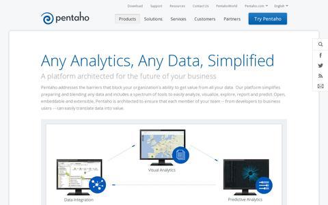 Screenshot of Products Page pentaho.com - Big Data, Business Analytics & BI | Pentaho - captured July 18, 2014