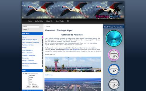 Screenshot of Home Page bonaireinternationalairport.com - Bonaire International Airport N.V. - Home - captured Sept. 30, 2014