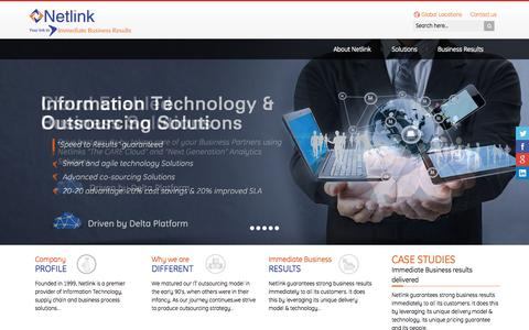 Screenshot of Home Page netlink.com - Netlink -  Information Technology Services | Enterprise Solutions | Business Process Outsourcing | Supply Chain Solutions - captured Aug. 5, 2015