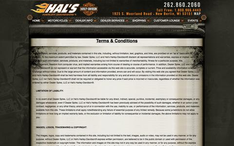 Screenshot of Terms Page halshd.com - Terms   Hal's Harley-Davidson®   New Berlin Wi - captured Oct. 1, 2014