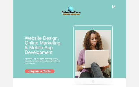 Screenshot of Home Page ngiambus.com - Ngiambus Corp is a professional web design, Mobile development and e-commerce company in Cameroon, providing a range of services and online strategie - Ngiambus Corp Professional Web Design and SSII, Mobile, E-Commerce - Douala, Cameroon - captured Oct. 7, 2014