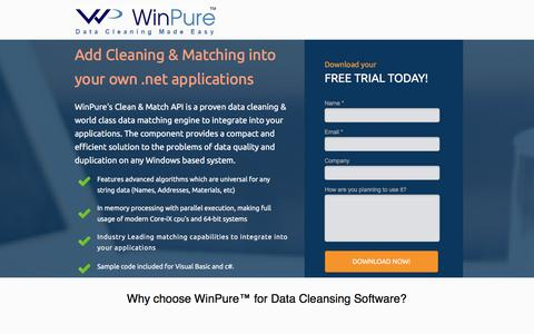 Screenshot of Landing Page winpure.com - Award-Winning Data Cleansing and Matching Software. - captured Jan. 22, 2017