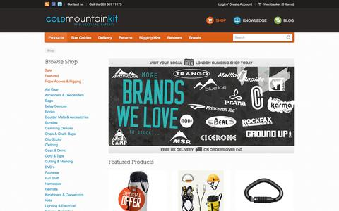 Screenshot of Home Page Products Page coldmountainkit.com - Cold Mountain Kit - Shop - captured Sept. 30, 2014
