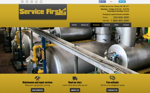 Screenshot of Products Page servicefirstltd.ca - Window Manufacturing Equipment Sidney, BC | Products | Service First Ltd - captured Dec. 11, 2016