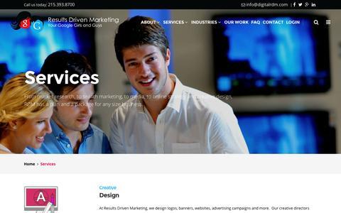 Screenshot of Services Page digitalrdm.com - Services - Design | Digital Marketing | Digital Strategy - Philadelphia, PA - captured March 4, 2016