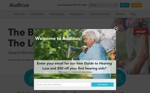 Screenshot of Home Page audicus.com - Digital Hearing Aids Online | Audicus - captured Nov. 1, 2016