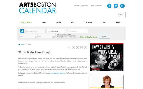 Screenshot of Login Page artsboston.org - Login | ArtsBoston Calendar - captured Jan. 7, 2017