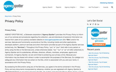 Screenshot of Privacy Page agencyspotter.com - Agency Spotter Privacy Policy - captured Feb. 19, 2018