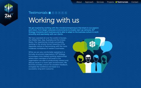 Screenshot of Testimonials Page zii3.com - Zii3 Strategy - Testimonials | Business Consultants | Laguna Niguel, California - captured Oct. 7, 2014
