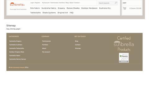 Screenshot of Site Map Page plumridge.com - Sitemap - Plumridge Silk & Sunbrella - captured July 8, 2017