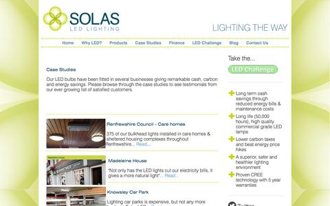 Screenshot of Case Studies Page solasled.co.uk - Solas LED - Case Studies - captured Oct. 9, 2014