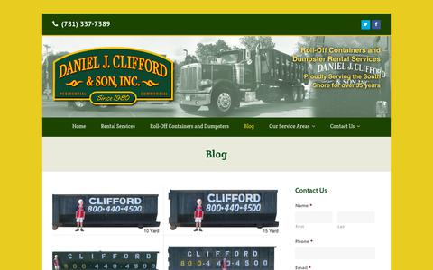 Screenshot of Blog cliffordcontainers.com - Our Weymouth, MA Dumpster Blog | Daniel J. Clifford & Son Dumpster Service - captured July 8, 2018