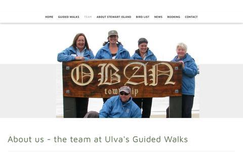 Screenshot of Team Page ulva.co.nz - About Ulva's Guided Walks, Ulva Island Bird Sanctuary, Stewart Island, NZ - Ulva's Guided Walks - Stewart Island - NZ - captured Oct. 31, 2018