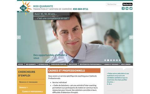 Screenshot of Services Page assmq.com - Cadres et professionnels - Midi Quarante - captured Nov. 2, 2014