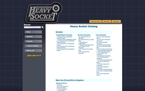 Screenshot of Products Page heavysocket.com - Heavy Socket website and online ordering. - captured Oct. 2, 2014