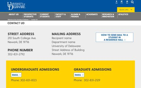 Screenshot of Contact Page udel.edu - Contact UD | University of Delaware - captured Nov. 16, 2018