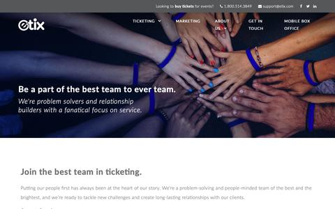 Screenshot of Jobs Page etix.com - Careers - Etix   Integrated Ticketing and Marketing Solutions : Etix   Integrated Ticketing and Marketing Solutions - captured Oct. 8, 2018