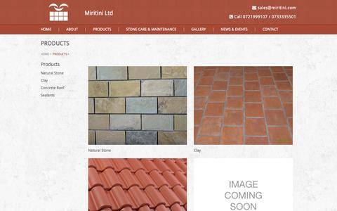 Screenshot of Products Page miritini.com - Products                                  Miritini Ltd   Welcome to the Stone Age! - captured Feb. 14, 2016