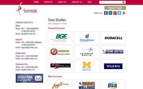 Screenshot of Case Studies Page formtek.com - Enterprise Content Management Case Studies | formtek - captured Oct. 27, 2014
