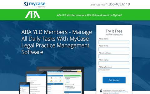 Screenshot of Landing Page mycase.com - MyCase | Legal Practice Management Software - captured March 13, 2018
