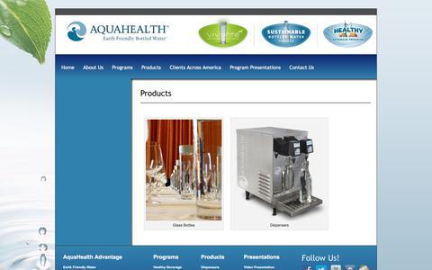 Screenshot of Products Page aquahealth.com - Products - AquaHealth - captured Oct. 8, 2017
