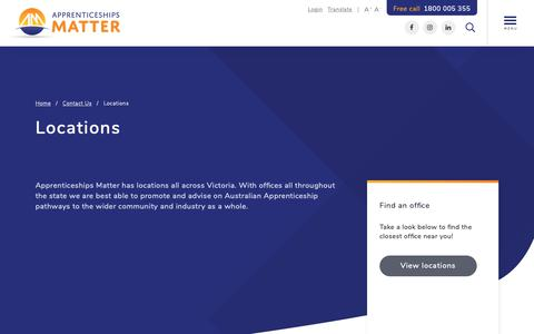 Screenshot of Locations Page appsmatter.com.au - Find a location in Victoria | Apprenticeships Matter - captured Nov. 1, 2018