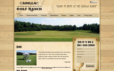 Screenshot of Home Page cadillacgolfranch.com - Golf Range & Instruction | Cadillac Golf Ranch - Pineville/Charlotte, NC - captured Sept. 26, 2014