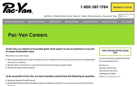 Screenshot of Jobs Page pacvan.com - Pac-Van Careers - Pac-Van - captured July 11, 2017