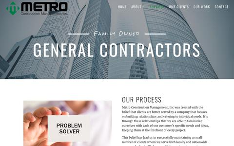 Screenshot of Services Page metrocm.com - Services - Metro Construction - captured Oct. 18, 2017
