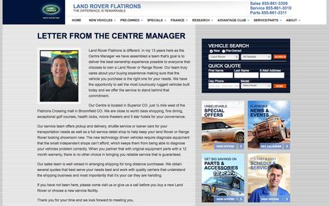 Screenshot of About Page landroverflatirons.com - About Land Rover Flatirons, New Land Rover, Range Rover, Used Cars, Auto Financing, Service, Repair, Parts, Denver, Boulder, Broomfield, CO - captured Sept. 29, 2014