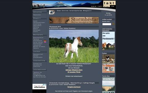 Screenshot of Home Page taktklar.de - www.taktklar.de - Das Online Islandpferde-Magazin - captured June 6, 2016