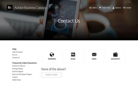 Screenshot of Contact Page businesscatalyst.com - Adobe Business Catalyst - Contact - captured Feb. 8, 2017