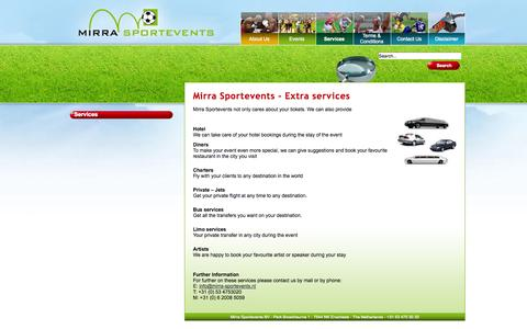 Screenshot of Services Page mirra-sportevents.nl - Services - captured Oct. 7, 2014