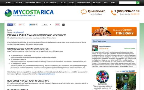 Screenshot of Privacy Page mycostaricalink.com - Privacy Policy - Use of Personal Contact Information - captured Sept. 23, 2014