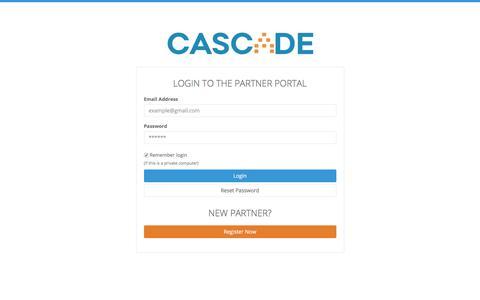 Screenshot of executestrategy.net - Login to Cascade Partner Portal | Cascade Strategy - captured Dec. 7, 2017