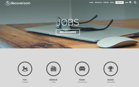 Screenshot of Jobs Page discoveroom.com - Jobs - Work with us - Discoveroom - captured Dec. 4, 2015