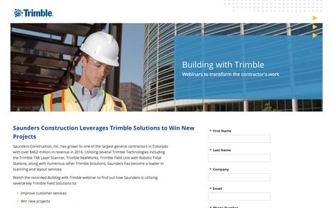 Screenshot of Landing Page trimble.com captured July 24, 2017