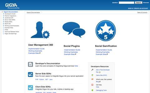 Screenshot of Developers Page gigya.com - Gigya's Documentation - Gigya's Documentation - captured Sept. 16, 2014