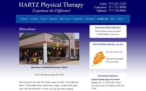 Screenshot of Maps & Directions Page hartzpt.com - Directions - Hartz Physical Therapy - captured Nov. 1, 2014