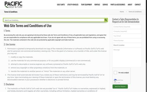 Screenshot of Terms Page pacificgolfturf.com - Terms & Conditions | Pacific Golf & Turf - captured July 10, 2016