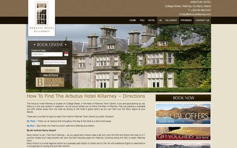 Screenshot of Maps & Directions Page arbutuskillarney.com - Directions to 4 star hotel Killarney | Arbutus Hotel - captured Oct. 4, 2014