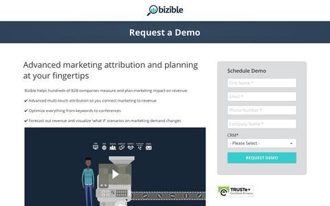 Screenshot of Trial Page bizible.com - Bizible B2B Marketing Attribution Demo - captured Sept. 20, 2017