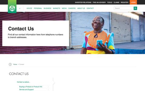 Screenshot of Contact Page oldmutual.co.za - Old Mutual Contact Details | Products, Head Office & Customer Care - captured Aug. 17, 2018